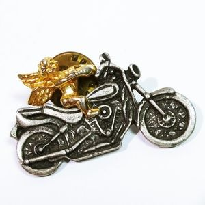 Vintage Removable Angel on Motorcycle Pin / Brooch